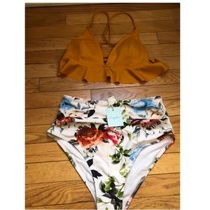 Cupshe high waisted floral two piece set!